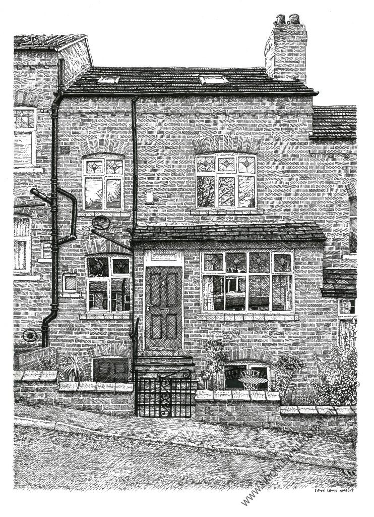 Drawing of house, Leeds, by Simon Lewis