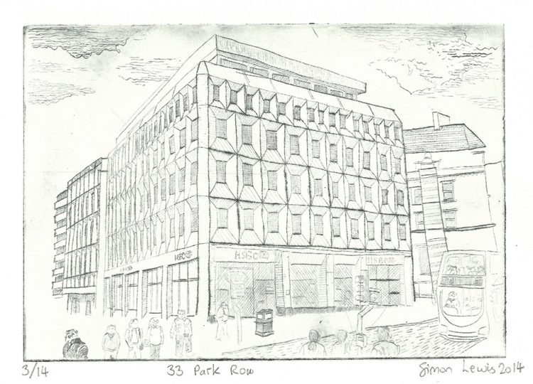 33 Park Row, etching by Simon Lewis