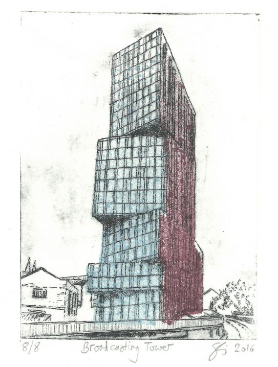 Broadcasting Tower - the rusty building, Leeds, etching by Simon Lewis