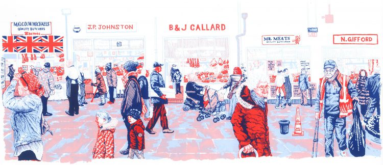 Butchers Row, screenprint by Simon Lewis