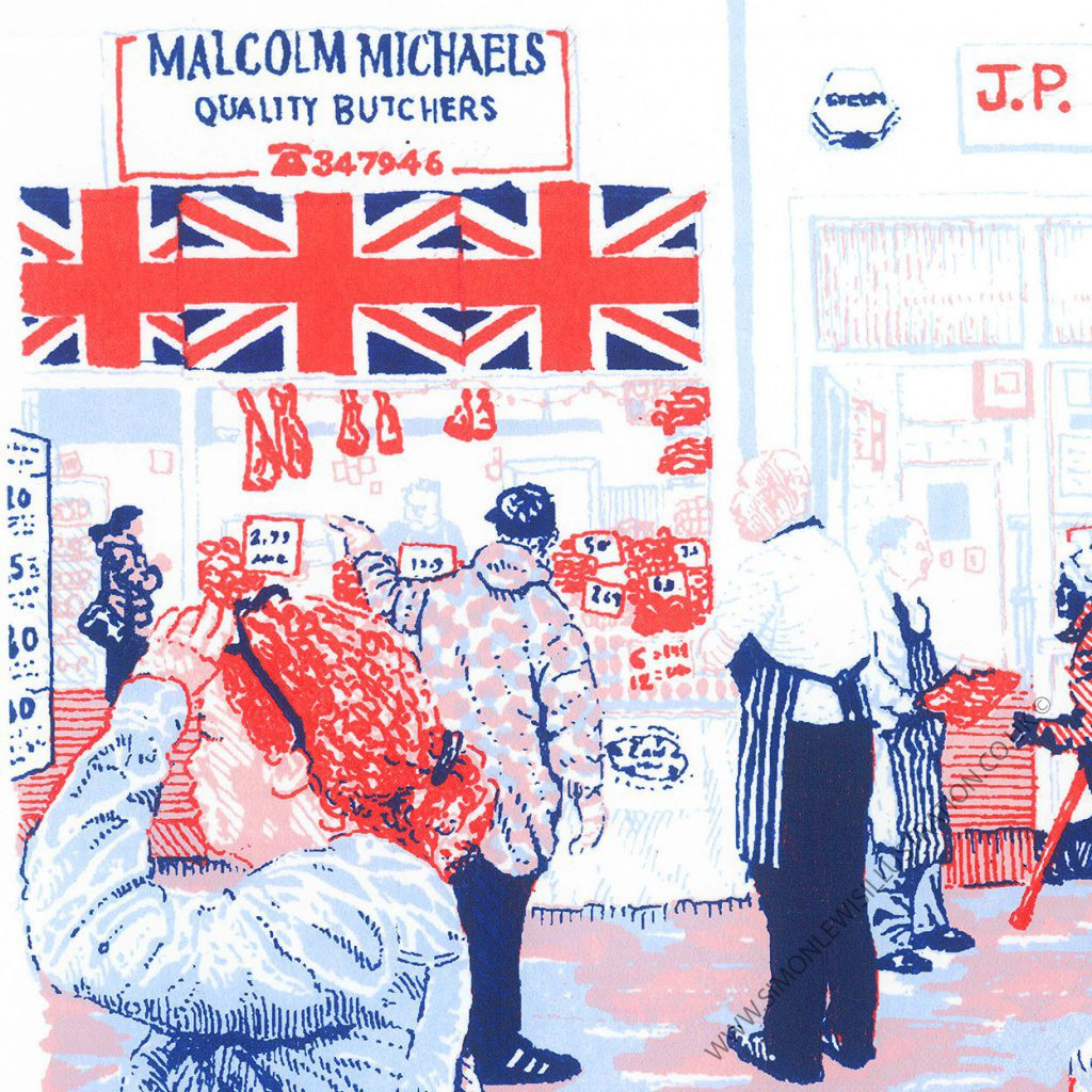 Butchers Row detail, screenprint by Simon Lewis