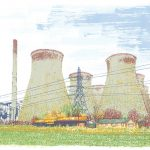 Ferrybridge power station, yorkshire, screenprint by Simon Lewis