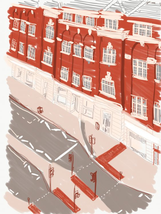 the Headrow, Leeds, digital sketch by Simon Lewis