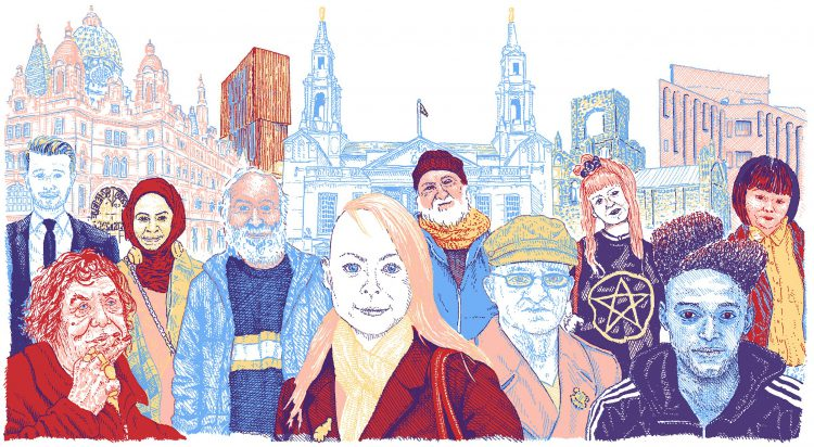 Humans of Leeds drawing, by Simon Lewis