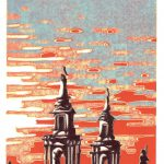 Tower Owls, lino print by Simon Lewis