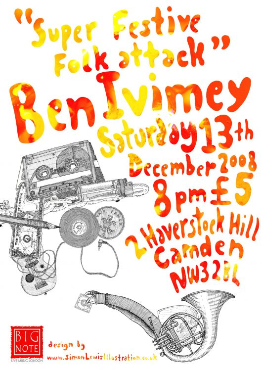 Music Flyer Design, illustration by Simon Lewis