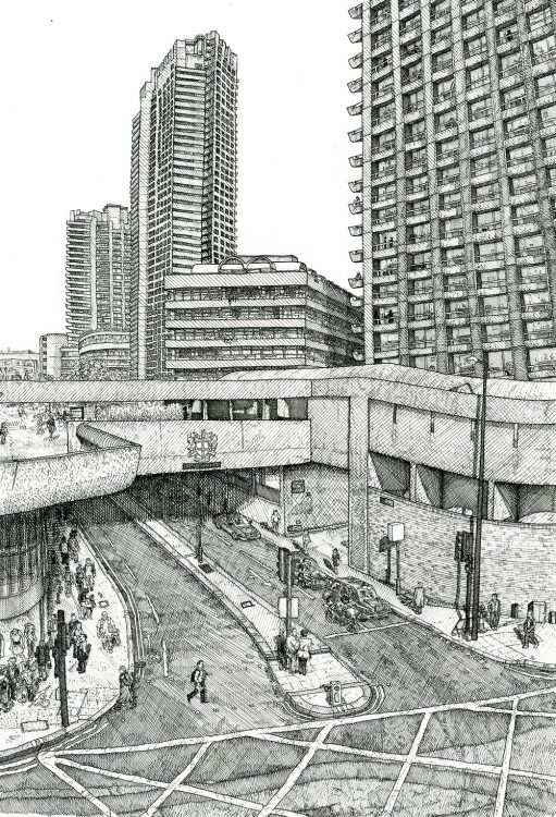 the Barbican, London, drawing by Simon Lewis