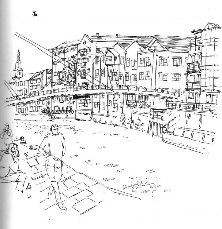 Calls Landing, sketch in Leeds by Simon Lewis