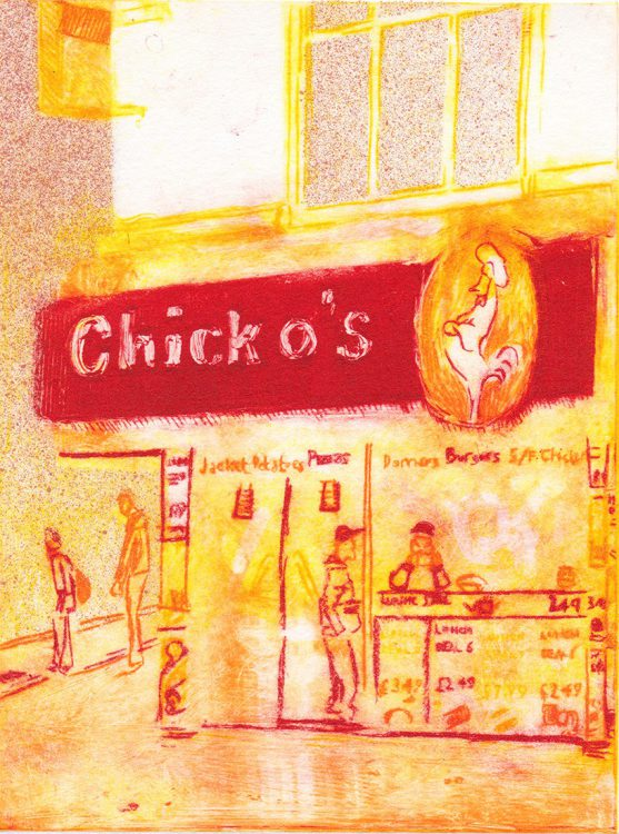 Chicken Shop, drypoint etching by Simon Lewis