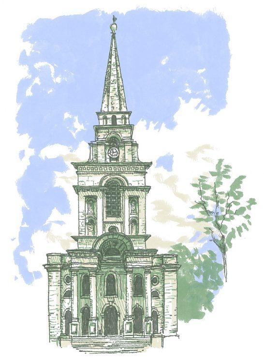 Christchurch, spitalfields, London, illustration by Simon Lewis