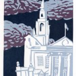 Leeds Civic Hall, lino print by Simon Lewis