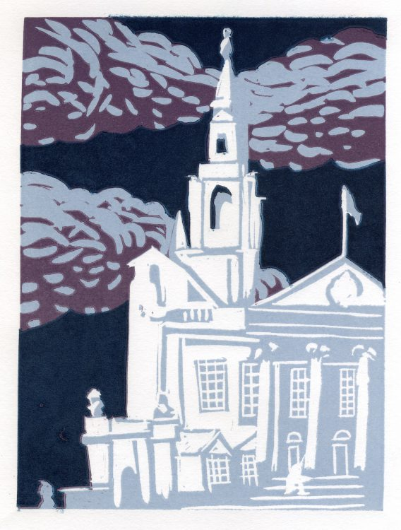 Leeds Civic Hall, lino print by Simon Lewis
