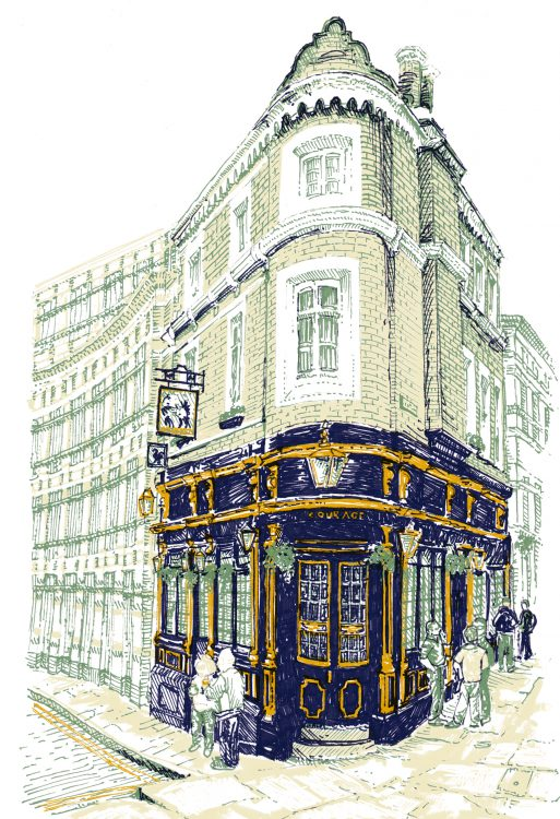the Cockpit Pub, London, illustration by Simon Lewis