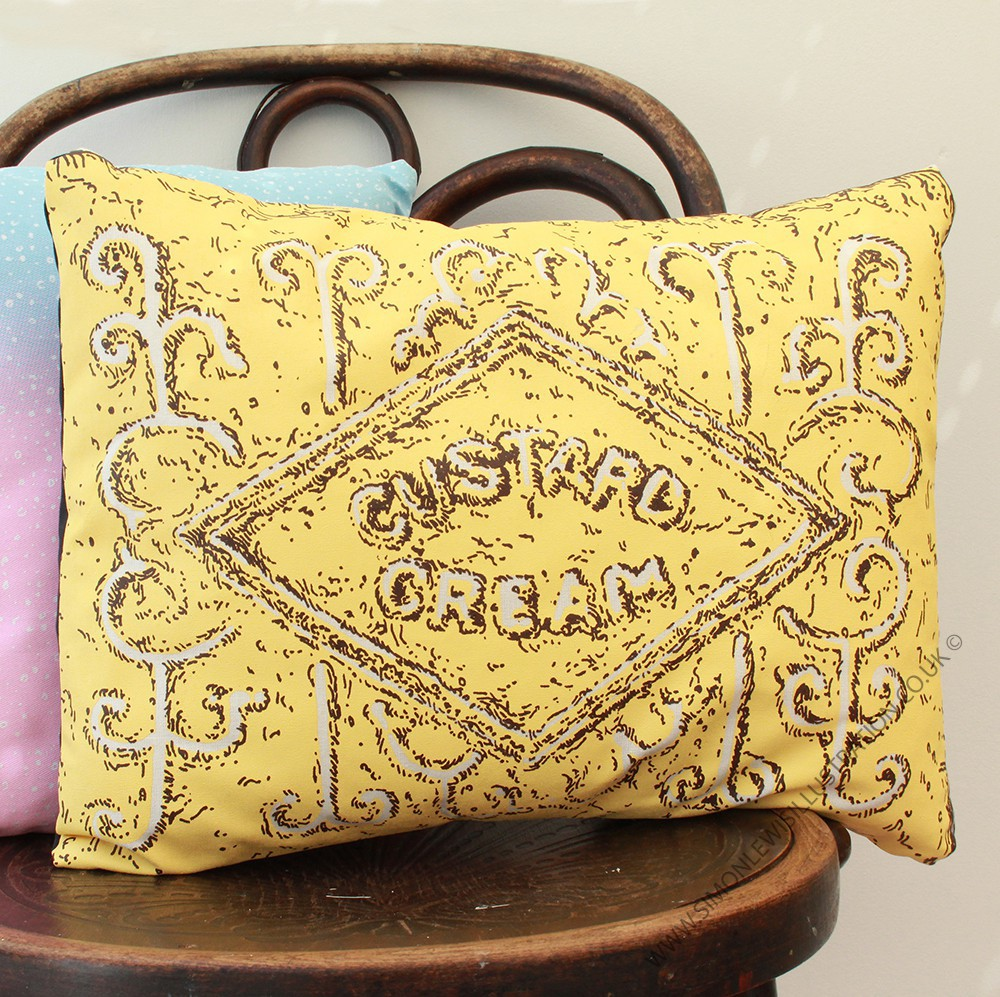 Custard Cream cushion, by Simon Lewis