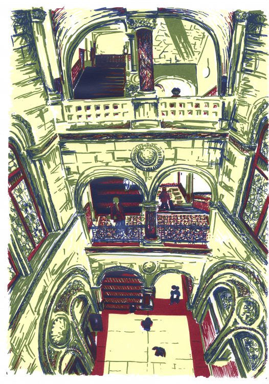 Library Stairway, Leeds screenprint by Simon Lewis