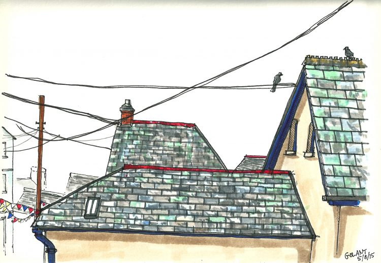 Golant, Cornwall, sketch in Leeds by Simon Lewis