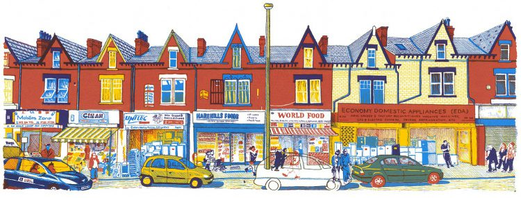 Harehills Lane, Leeds screenprint by Simon Lewis