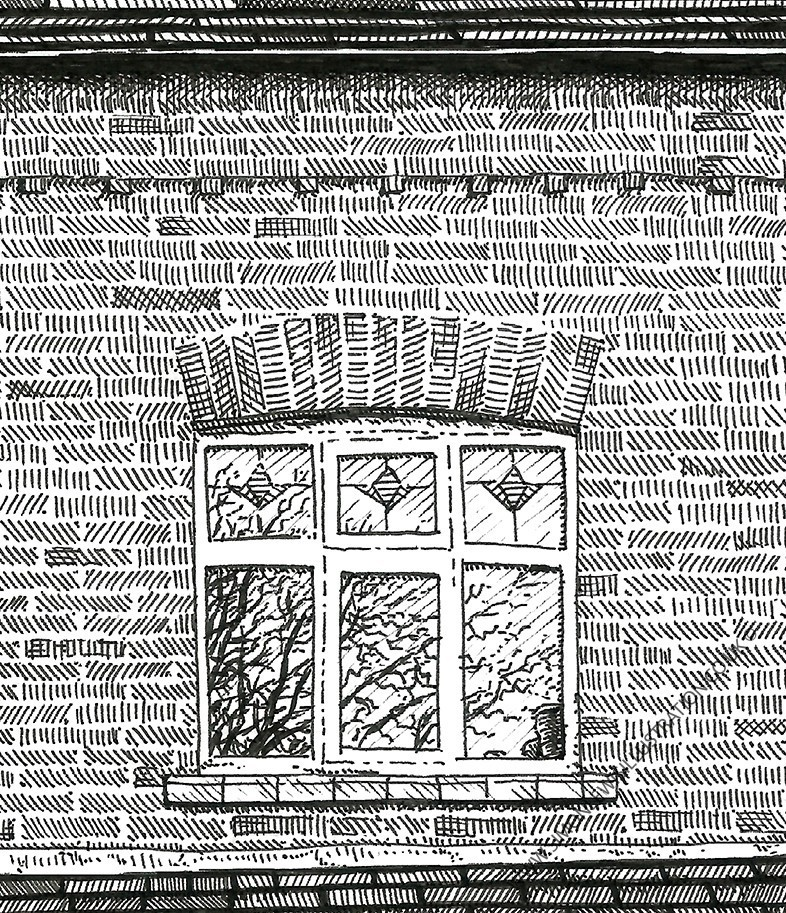 Detail of drawing of house, Leeds, by Simon Lewis