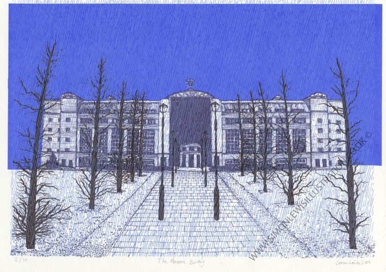 Pensions Building, Leeds screenprint by Simon Lewis