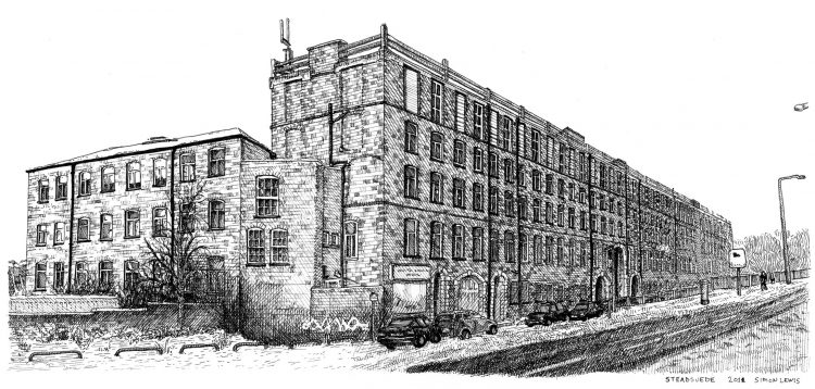 Stead Suede, Leeds, drawing by Simon Lewis