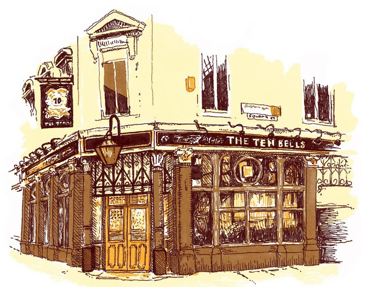 The Ten Bells pub, East London illustration by Simon Lewis