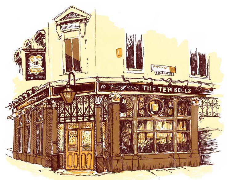 The Ten Bells pub, East London illustration by Simon Lewis