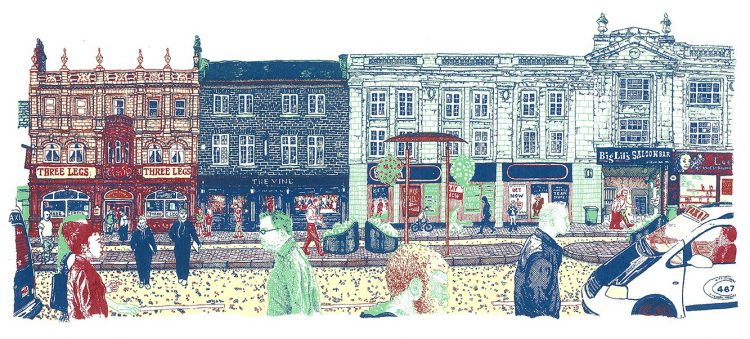 The Headrow, Leeds screenprint by Simon Lewis