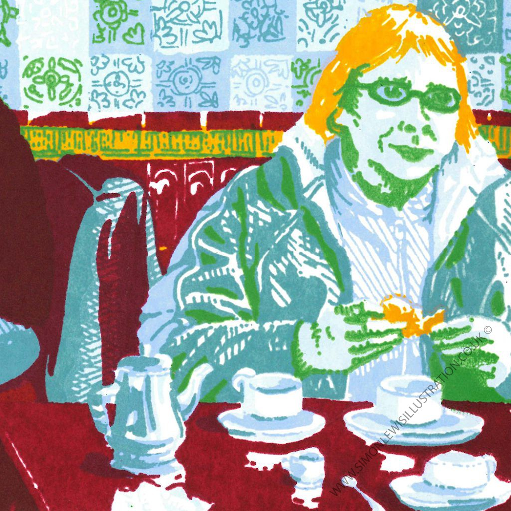 the Tiled Hall Cafe-detail, Leeds, screenprint by Simon Lewis