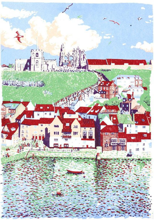 Whitby screenprint by Simon Lewis