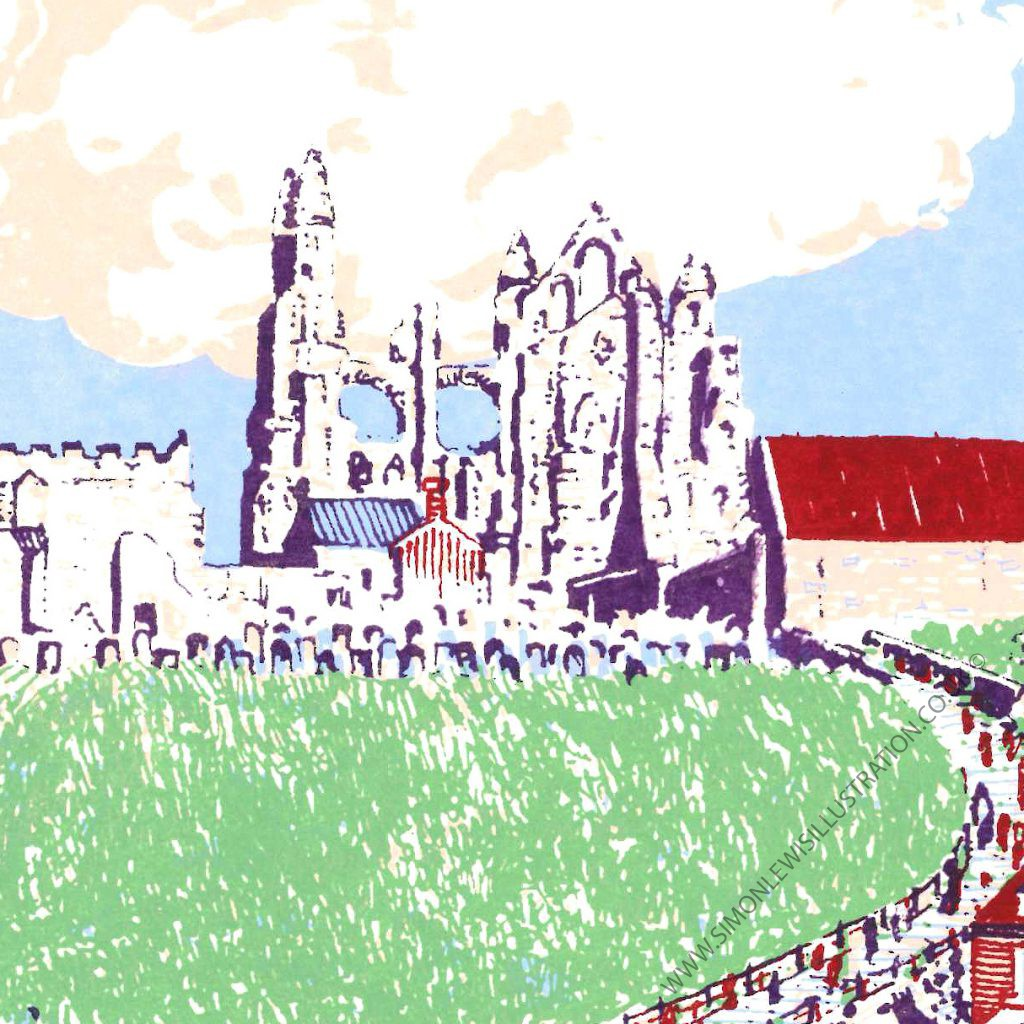 detail of Whitby screenprint by Simon Lewis
