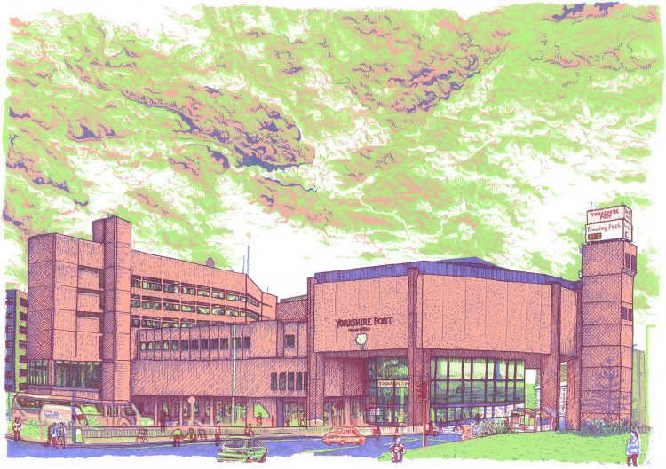 the Yorkshire Post Building, Leeds screenprint by Simon Lewis