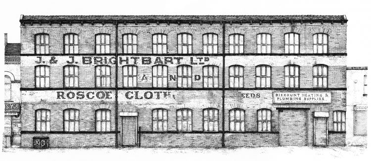 Roscoe Cloth and J&J Brightbart ltd building, Leeds, drawing by Simon Lewis